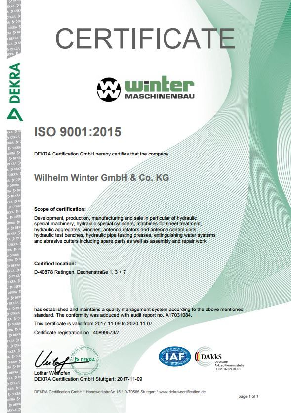 Successful Certification according to DIN EN ISO 9001:2015